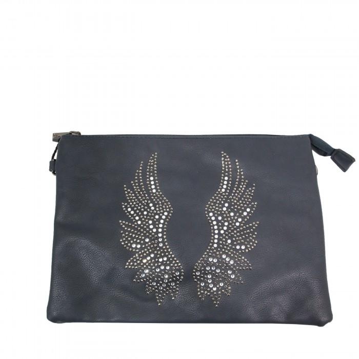 Pochette de soirée bleue foncée ailes d'ange brillantes