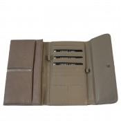 Porte-chéquier - Porte-cartes taupe en simili-cuir avec détail or
