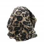 Foulard beige avec imprimé style animal léopard marron