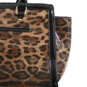 Sac à main vernis imprimé style léopard à multiples poches et rangements