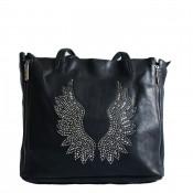 Sac à main noir avec ailes d'ange brillantes et pochette