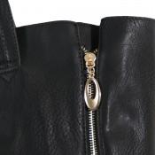Sac à main noir simili-cuir avec fermetures éclair déco sur le côté et pochette de soirée fournie