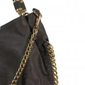 Sac à main taupe simili-cuir avec détails et maillons dorés