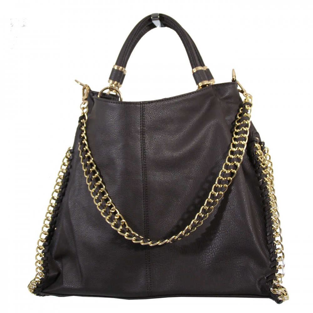 sac main marron chocolat simili cuir avec d tails et. Black Bedroom Furniture Sets. Home Design Ideas