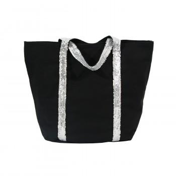 Sac à main cabas noir en tissu avec lanières à paillettes