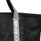 Sac à main noir style cabas en simili-cuir avec lanières à paillettes