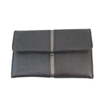 Porte-chéquier - Porte-cartes noir en simili-cuir avec détail argent