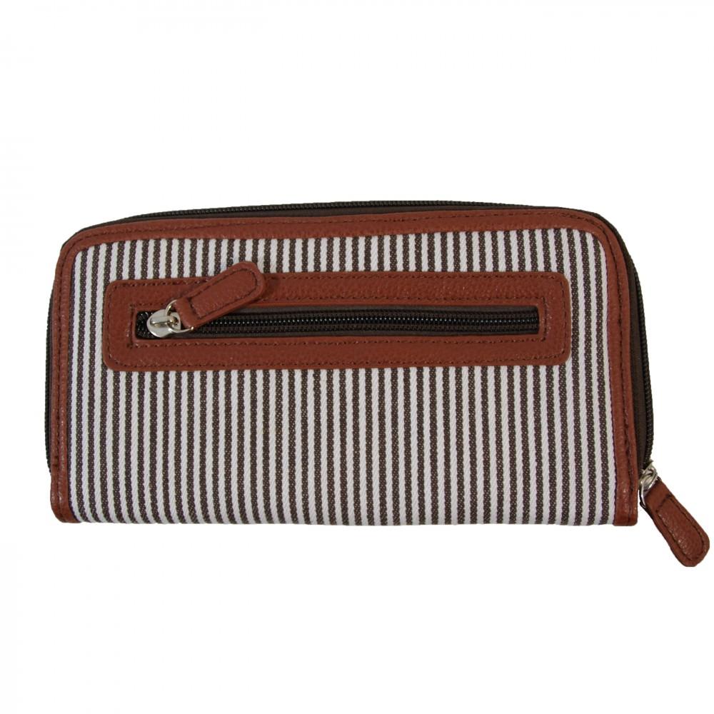Portefeuille porte monnaie en tissu marini re marron et simili cuir marron - Porte monnaie en tissu ...