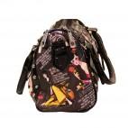 Petit sac à main marron foncé avec imprimés fashion, lanières crocodiles et clous
