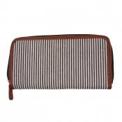 Portefeuille - Porte-monnaie en tissu marinière marron et simili-cuir marron