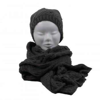 Kit écharpe en maille et bonnet assorti, très épais, couleur gris