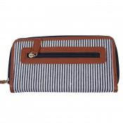 Portefeuille - Porte-monnaie en tissu marinière bleu et simili-cuir marron