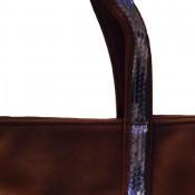 Sac à main camel style cabas en simili-cuir avec lanières à paillettes