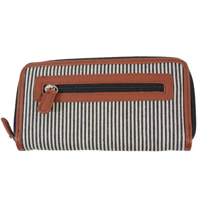 Portefeuille - Porte-monnaie en tissu marinière gris et simili-cuir marron