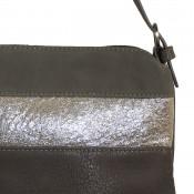 Pochette de soirée grise simili-cuir avec bande à paillettes