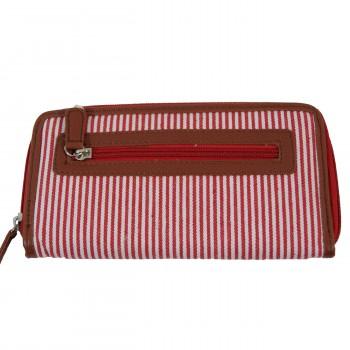 Portefeuille - Porte-monnaie en tissu marinière rouge et simili-cuir marron