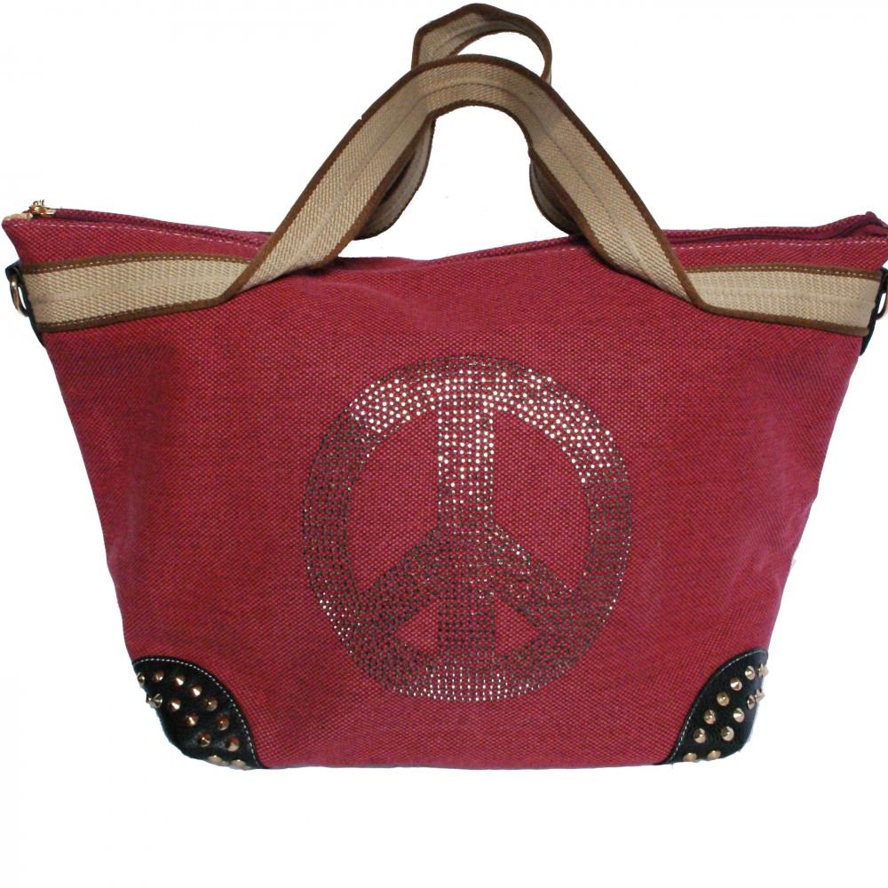sac main rouge en tissu avec motif peace love en. Black Bedroom Furniture Sets. Home Design Ideas