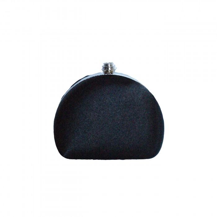 Pochette de soirée noire arrondie en tissu brillant très habillée