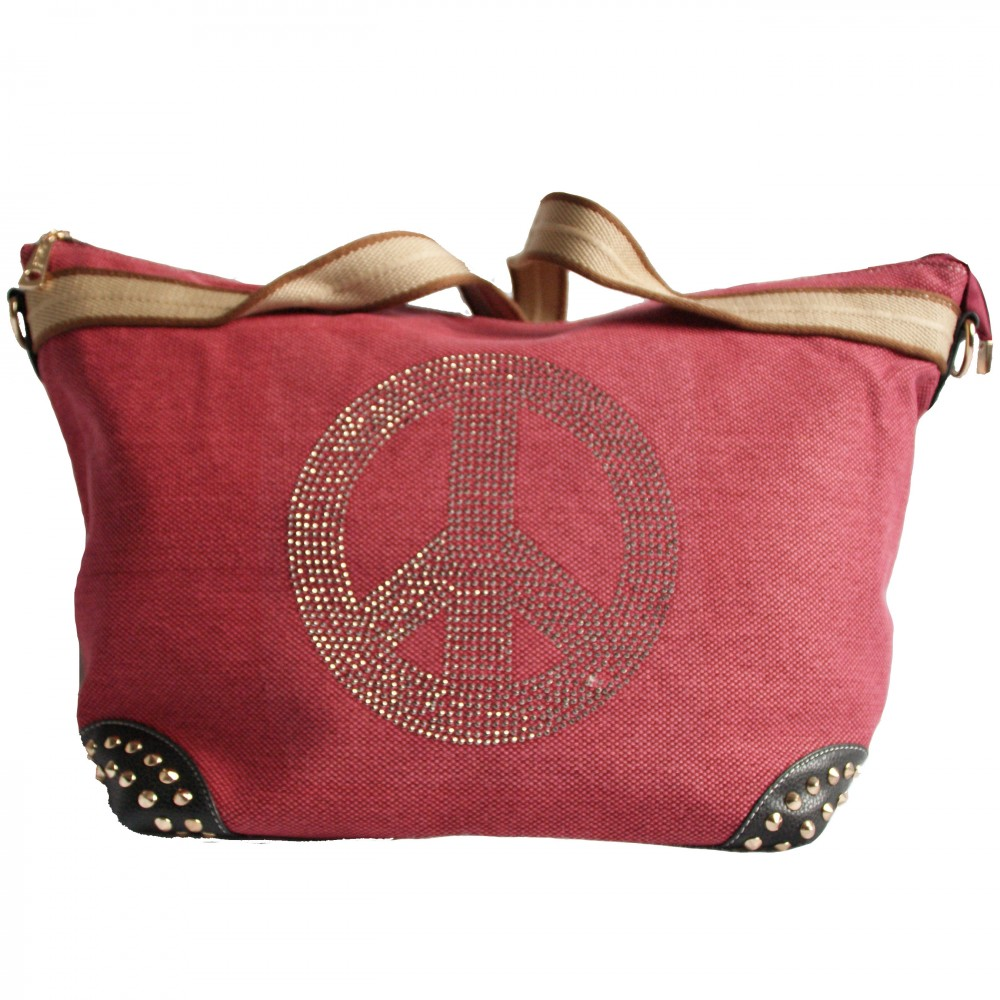 sac main rose en tissu avec motif peace love en. Black Bedroom Furniture Sets. Home Design Ideas