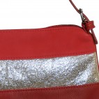 Pochette de soirée rouge simili-cuir avec bande à paillettes