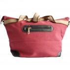 Sac à main rose en tissu avec motif Peace&Love en paillettes et clous