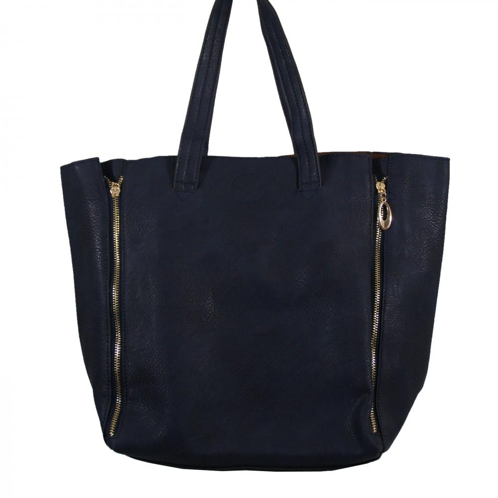 sac main bleu marine simili cuir avec fermetures clair d co sur le c t et pochette de soir e. Black Bedroom Furniture Sets. Home Design Ideas