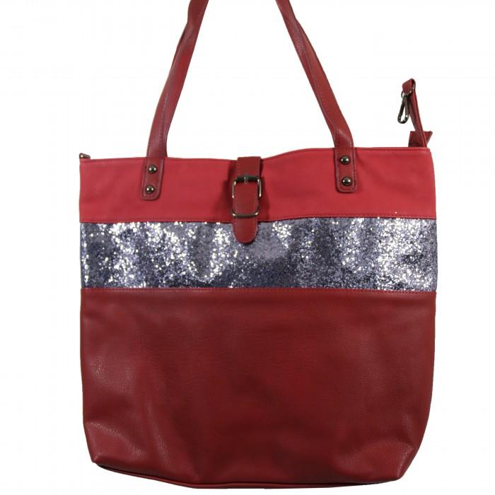 Grand sac à main rouge bordeaux simili-cuir avec fermeture originale et bande à paillettes