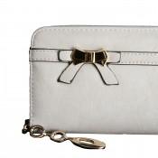 Porte-monnaie - portefeuille gris avec noeœud doré, fermeture éclair, nombreux rangements et chaînette dorée