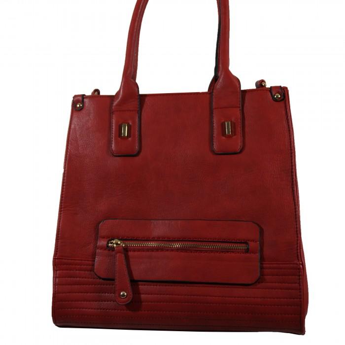 Sac à main rectangulaire rouge bordeaux très original avec détails dorés, multiples rangements zippés et surpiqures
