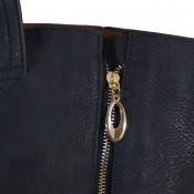 Sac à main bleu marine simili-cuir avec fermetures éclair déco sur le côté et pochette de soirée fournie