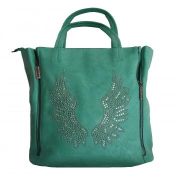 Sac à main vert avec ailes d'ange brillantes et pochette