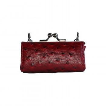 Porte-monnaie rouge bordeaux simili cuir style matelassé avec ouverture originale
