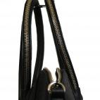 Sac à main noir style bowling très original avec lanières zippées et pochette amovible