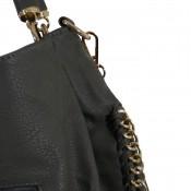 Sac à main gris anthracite simili-cuir avec détails et maillons dorés