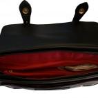 Sac à main - cartable vintage noir à surpiqures blanches, à boucles et à doublure rouge