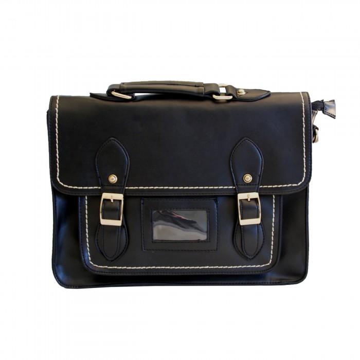 sac main cartable vintage noir boucles. Black Bedroom Furniture Sets. Home Design Ideas