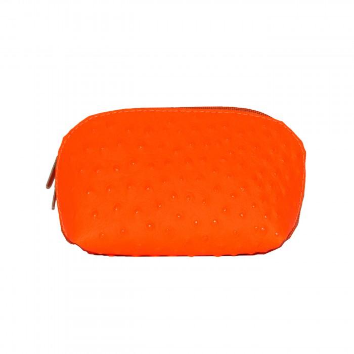 Grand porte-monnaie - pochette de rangement en cuir véritable matelassé orange flashy fluo