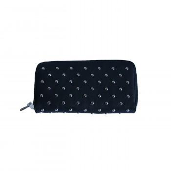 Portefeuille - porte-monnaie noir à clous en simili cuir avec nombreux rangements