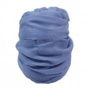 Foulard couleur bleu clair avec pompons, composition soie, coton et viscose