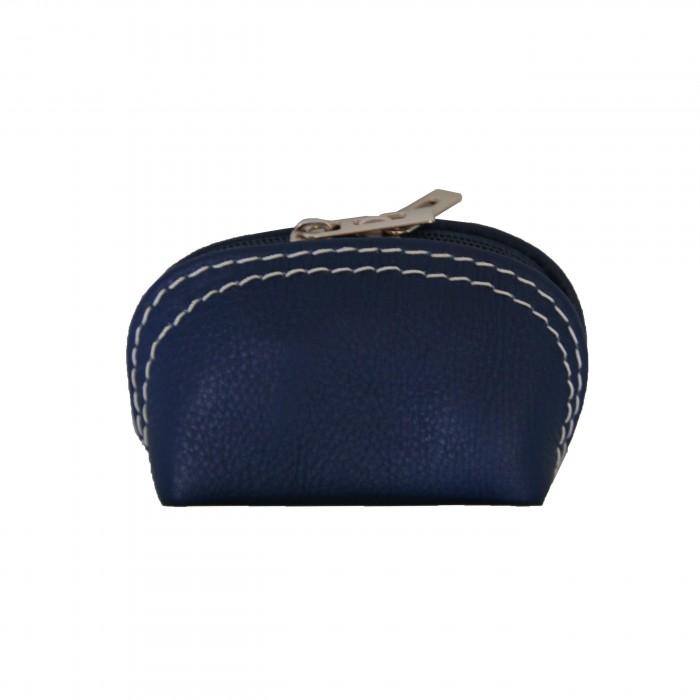 Petit porte-monnaie bleu en cuir véritable de vachette à surpiqures blanches