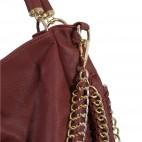 Sac à main rouge bordeaux simili-cuir avec détails et maillons dorés