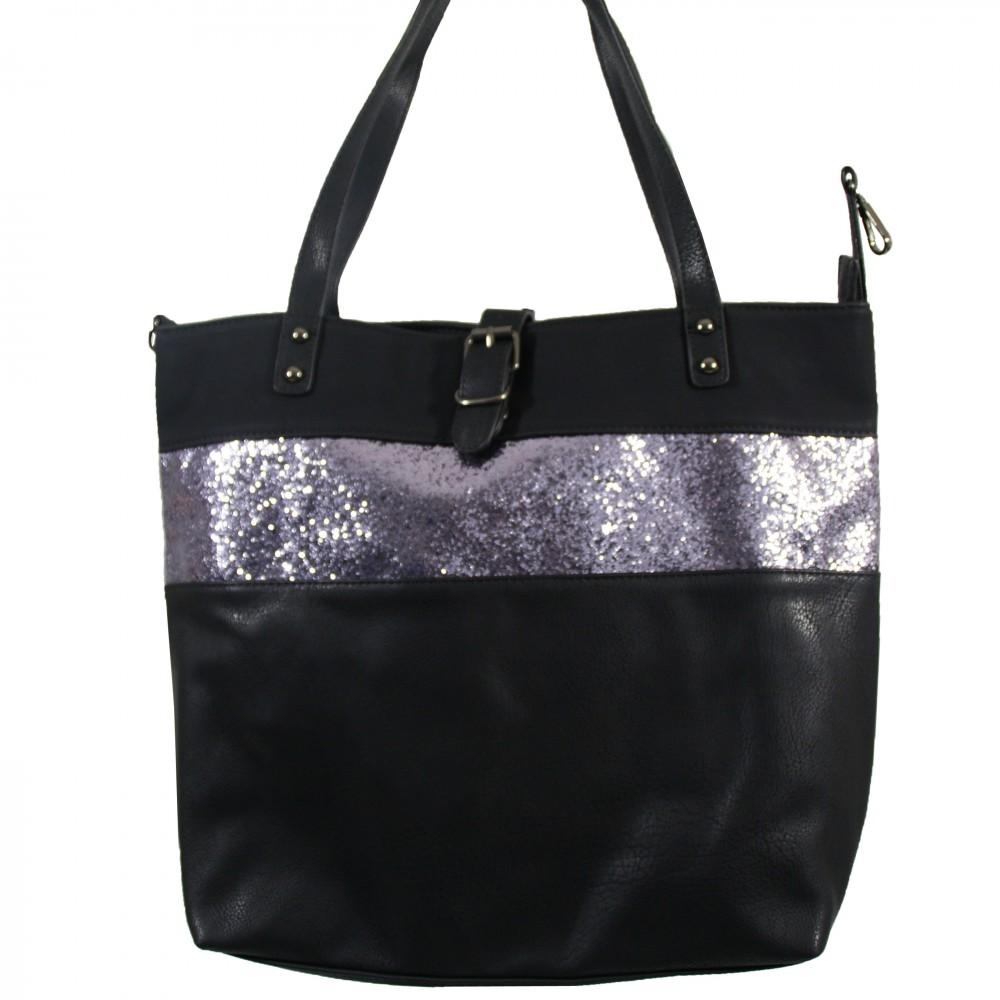 Grand sac main noir simili cuir avec fermeture originale et bande paillettes for Bureaux adolescente noir et strass