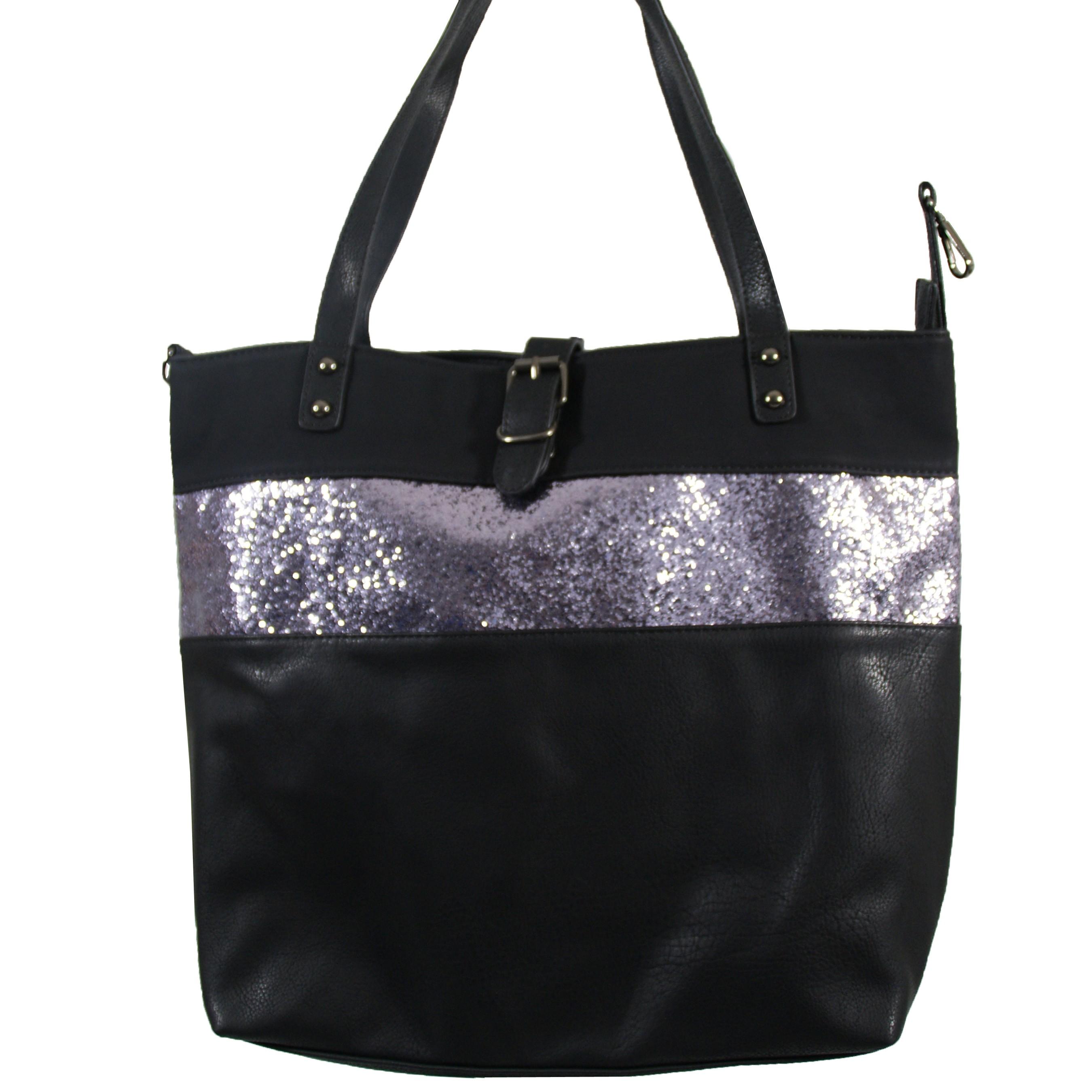 plus récent 5cb7c caad9 Grand sac à main noir simili-cuir avec fermeture originale ...