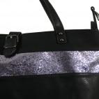 Grand sac à main noir simili-cuir avec fermeture originale et bande à paillettes
