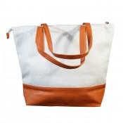 Sac à main style cabas en simili-cuir bicolore blanc et orange