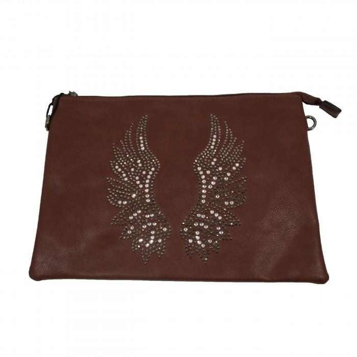 Pochette de soirée chocolat ailes d'ange brillantes