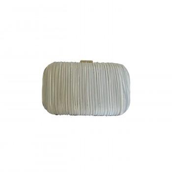 Pochette de soirée blanche en tissu plissé très habillée