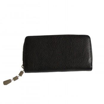 Porte-monnaie - portefeuille noir simili-cuir avec fermeture éclair, nombreux rangements et chaînette argentée