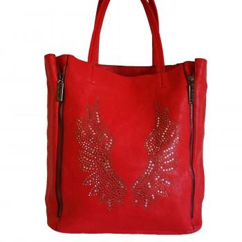 Sac à main rouge avec ailes d'ange brillantes et pochette