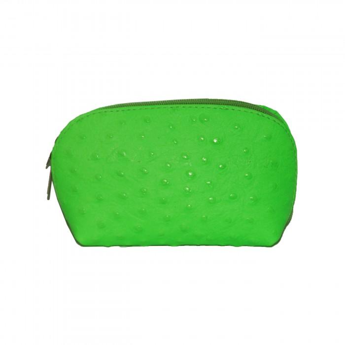 Grand porte-monnaie - pochette de rangement en cuir véritable matelassé vert flashy fluo